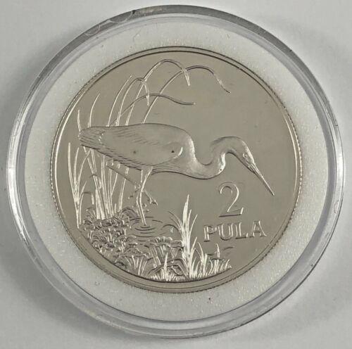 1986 BOTSWANA IPELEGENG 2 PULA HERON BIRD SILVER PROOF COIN