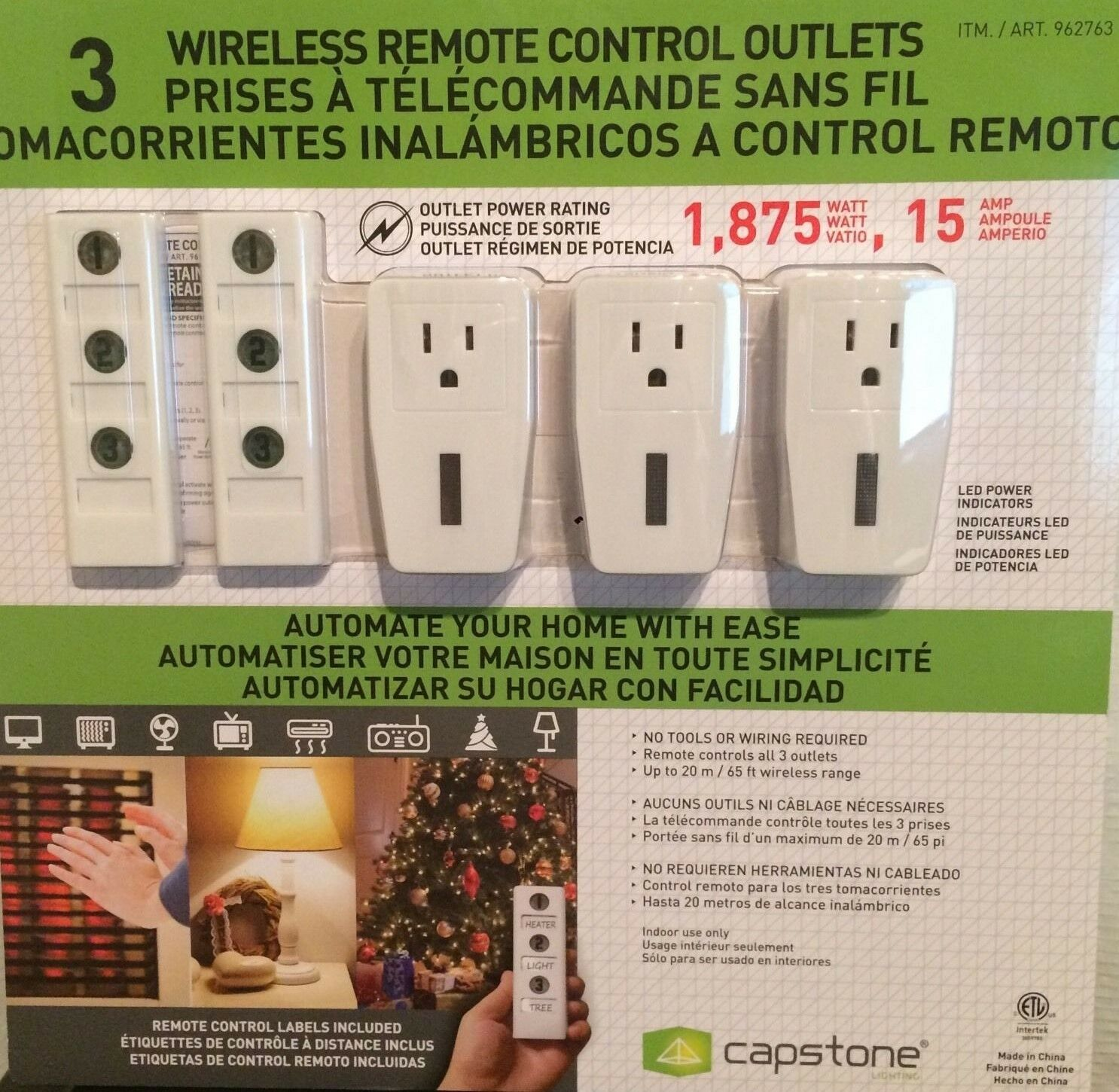 new capstone 3 wireless remote control power outlet light switch 2 remotes nib. Black Bedroom Furniture Sets. Home Design Ideas
