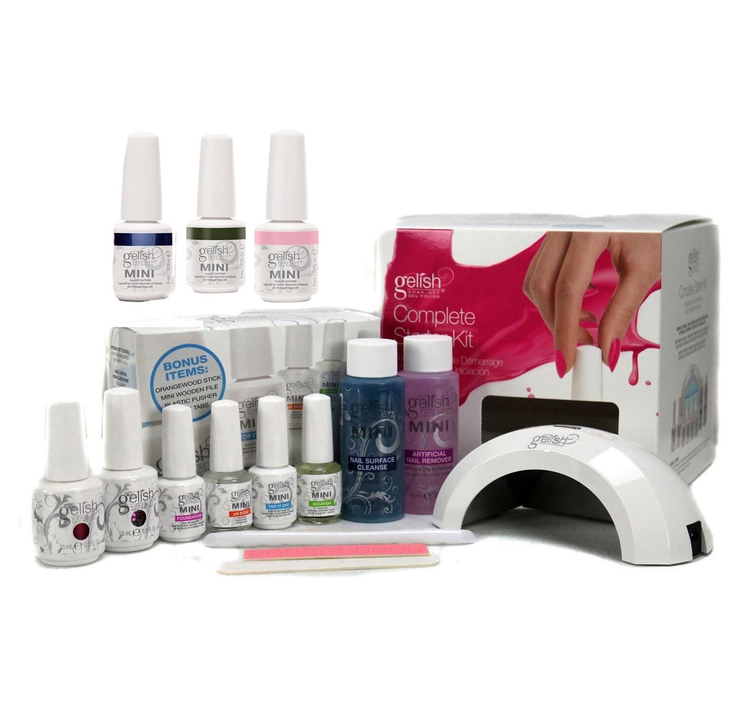 Gelish Mini Harmony Complete Starter LED Gel Nail Polish Kit - Includes 5 Colors