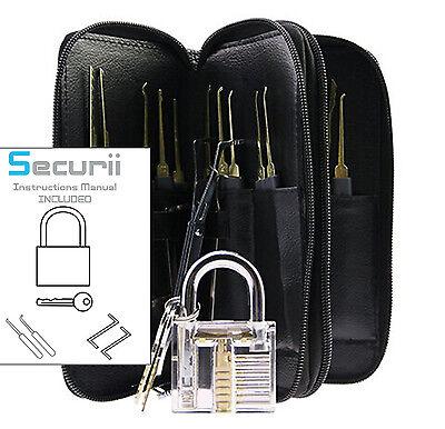 Locksmith 25 Piece Lock Pick Set Key Extractor Tool +Cutaway Padlock Picking kit