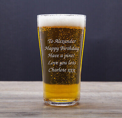 Personalised Pint Beer Glass Engraved Birthday Best Man 18th 21st 40th