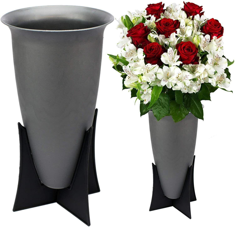 2x Grabvasen Grabvase mit Ständer Friedhofsvase Blumenvase Vase für Grab Schmuck