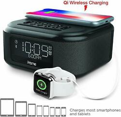 iHome iBTW23 Alarm Clock Bluetooth Stereo Lightning iPhone Qi Wireless Charging