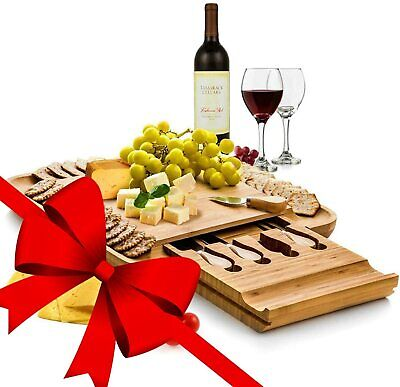 BAMBÜSI Cheese Board and Knife Set-Premium Bamboo Charcuterie Board Serving Tray