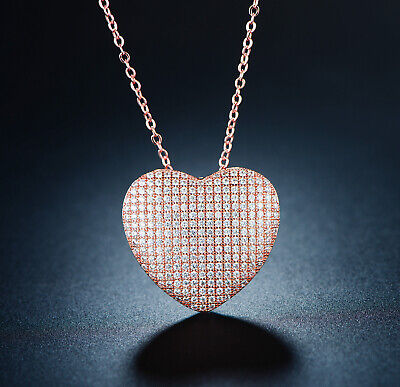 Sevil 18K Rose Gold Plated Heart Necklace Made With Swarovski Elements