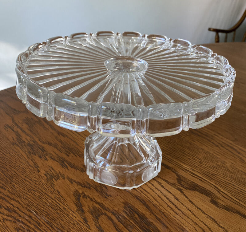 VINTAGE Fostoria Coin Glass Clear Pedestal Cake Plate
