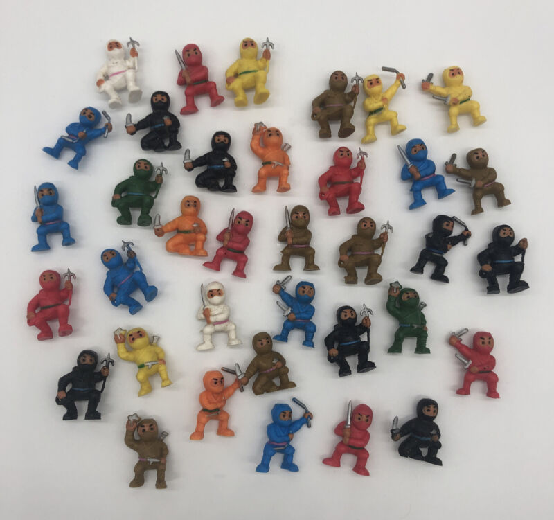 Vintage Small Ninja Warrior Fighters Lot of 36 Shinobi Japanese PVC Plastic