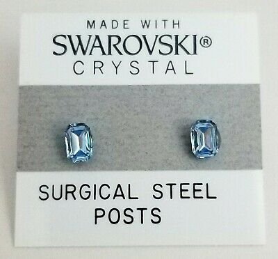 Blue Emerald Rectangle Earrings Crystal 5mm Light Made With Swarovski Elements Element Jewelry Rectangle Earrings