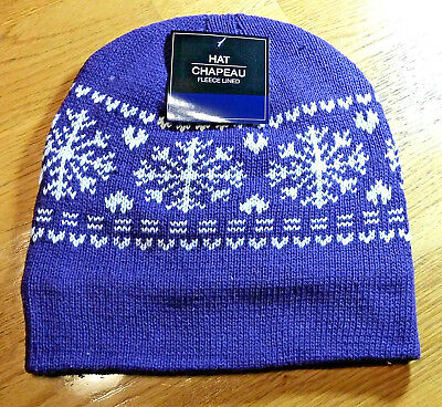 PURPLE Mens? Womens KNIT FLEECE Lined Beanie Hat Cap Warm Winter SnowFlake NWT Snowflake Knit Hat