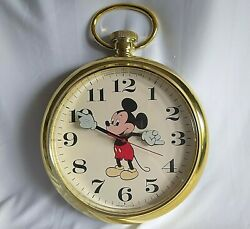 Vintage Mickey Mouse Wall Clock DISNEY Welby By Elgin POCKET WATCH Japan 11.5