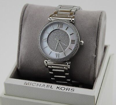 NEW AUTHENTIC MICHAEL KORS CATLIN SILVER MOP CRYSTALS WOMEN'S MK3355 WATCH