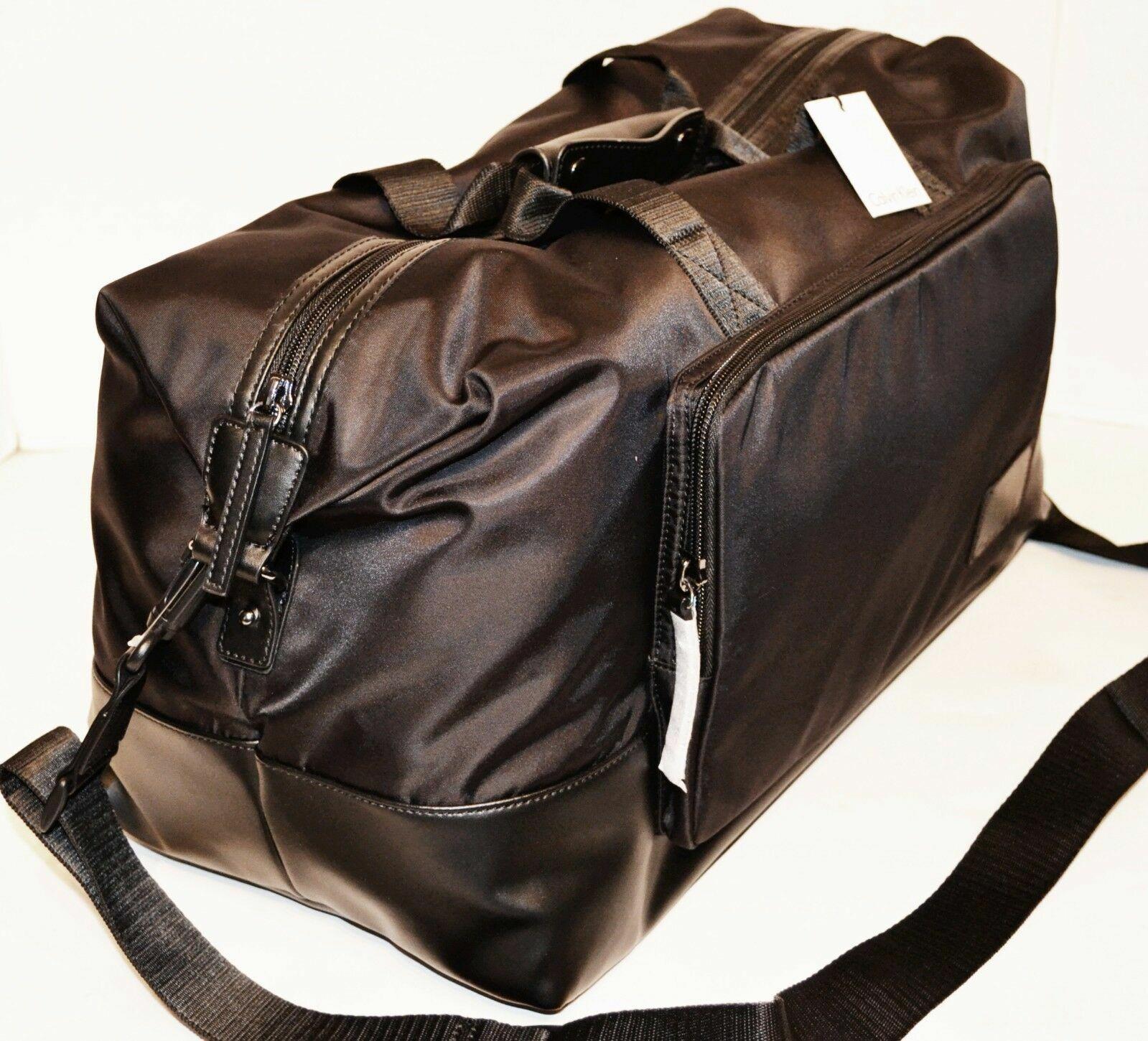 Calvin Klein Black Cotton Nylon Duffle Handbag Purse Sac Bol