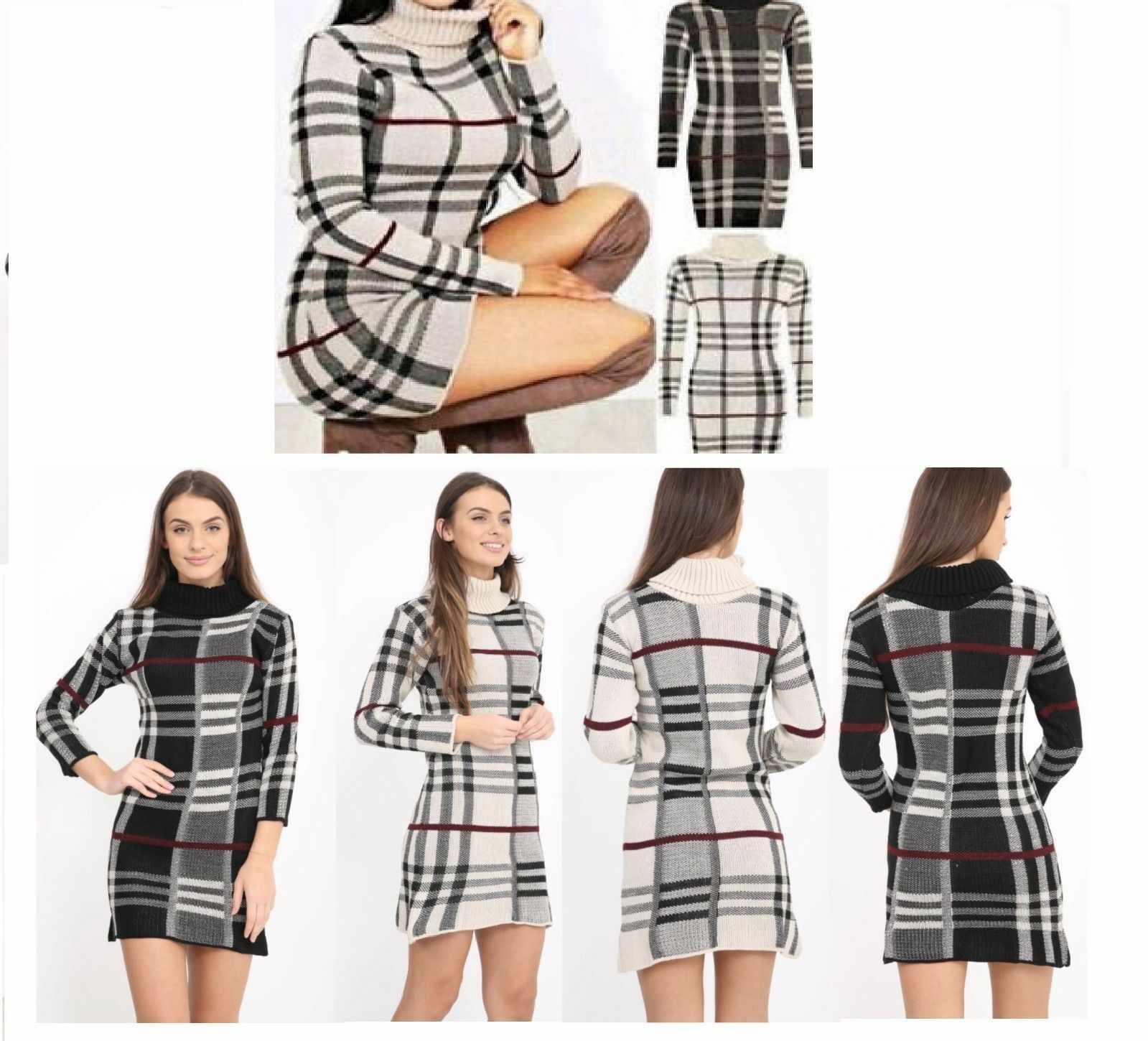 ef8be87c6b87 Details about New Women Ladies Tartan Printed Polo Neck Long Sleeve Knitted  Jumper Dress Top