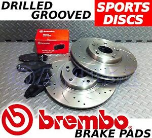Subaru Impreza Bug eye 00- Turbo Drilled & Grooved FRONT Brake Discs BREMBO Pads