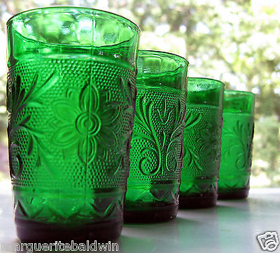 Anchor Hocking Glass 4 Forest Green Sandwich 5 ounce Juice Tumblers