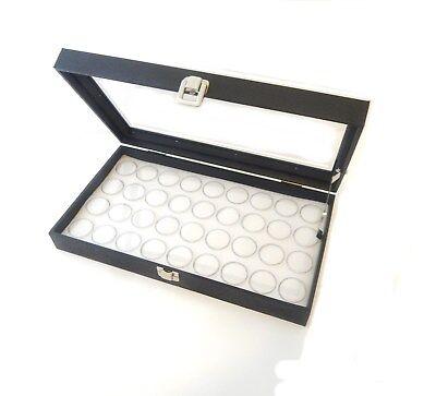 Glass Top 36 Gem White Jar Display Organizer Storage Case With Lid Support