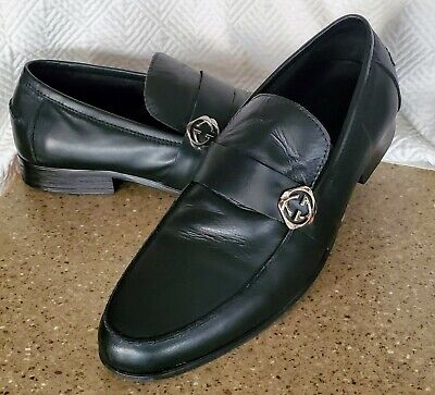 Authentic GUCCI BLACK LOAFERS Silver GG Logo MENS SIZE 46 (US 12) Nice Vintage