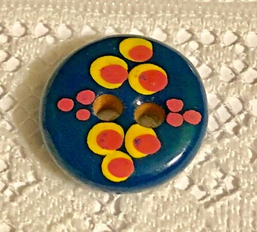 Brightly Painted Dots on Dots Wood Button - Milled & Painted in Russia