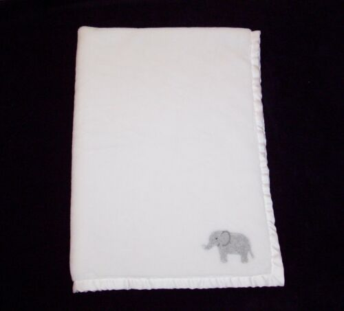 Carters White Grey Elephant Applique Baby Blanket Soft Satin Trim Security Lovey