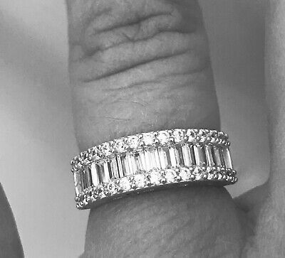 14k Solid White Gold 1.75 Ct Diamond Wedding Band Anniversary Ring Baguette  ()