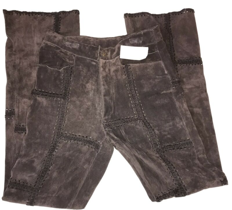 Vintage Wilson Maxima Leather Patchwork Pants S-8/10 New Small Bell Bottom RARE
