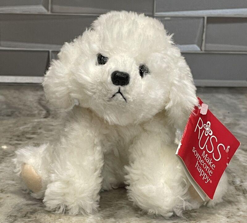 "Russ Berrie Bichon Frise Muffin Jr White Puppy Dog 6"" Stuffed Animal Plush 4239"