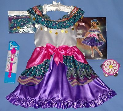 GYPSY FORTUNE TELLER COSTUME-PIRATE;girl-4-6;8-10;10-12;scarf-tambourine-ribbon - Gypsy Girl Costume