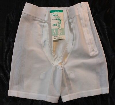 Vintage Trim-Line White LLPG Long Leg Panty Girdle w/Satin Panels sz 2X