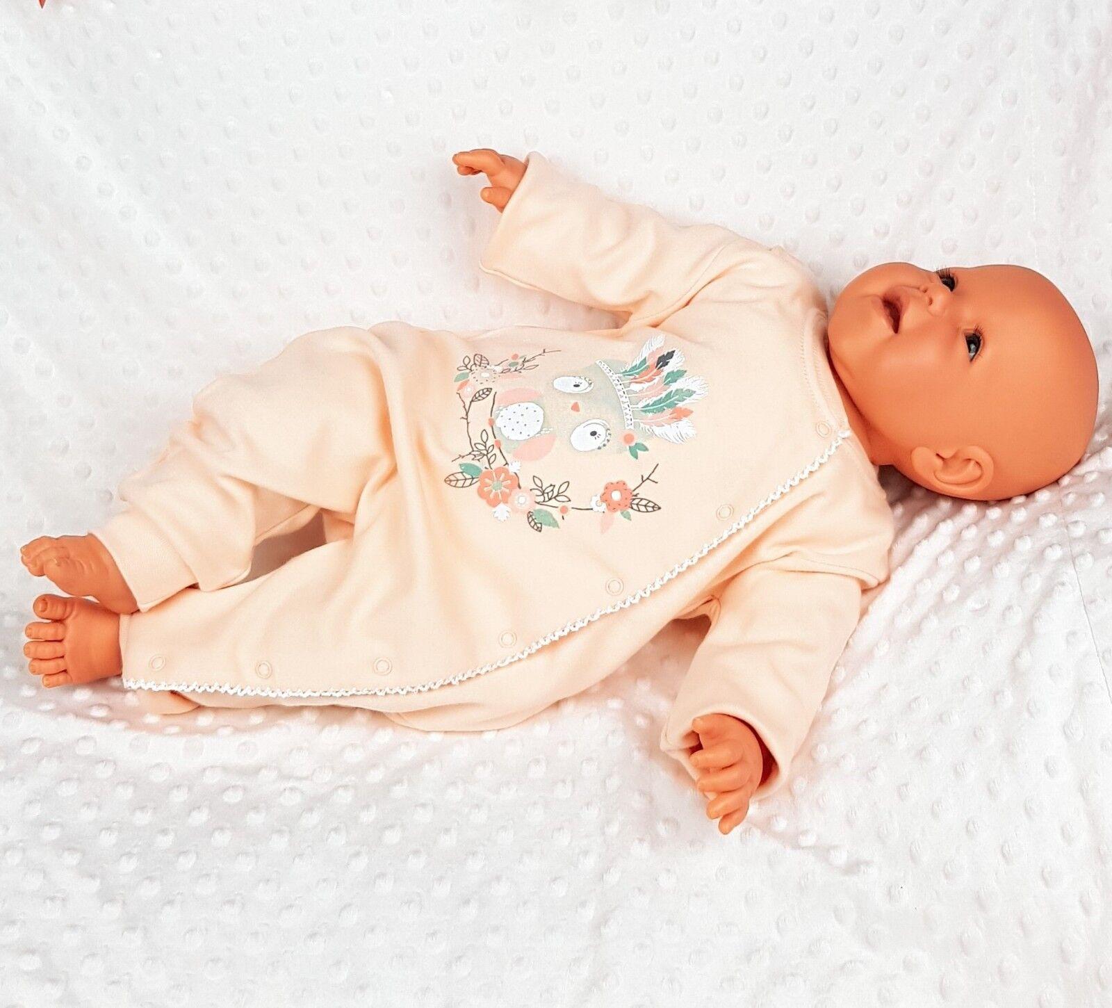 BABY MÄDCHEN STRAMPLER OVERALL LANGARM NEUGEBOREN GESCHENK AUS BAUMWOLLE