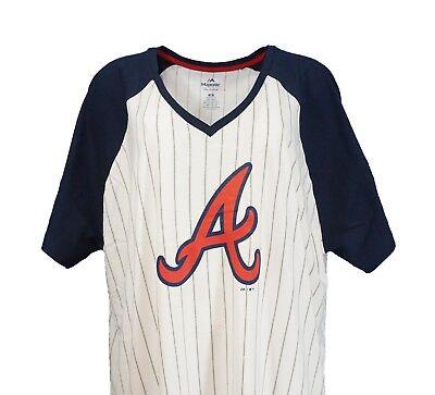 Atlanta Braves MLB Majestic Women's Pinstripe Raglan V-Neck T-Shirt, nwt Braves Mlb T-shirt