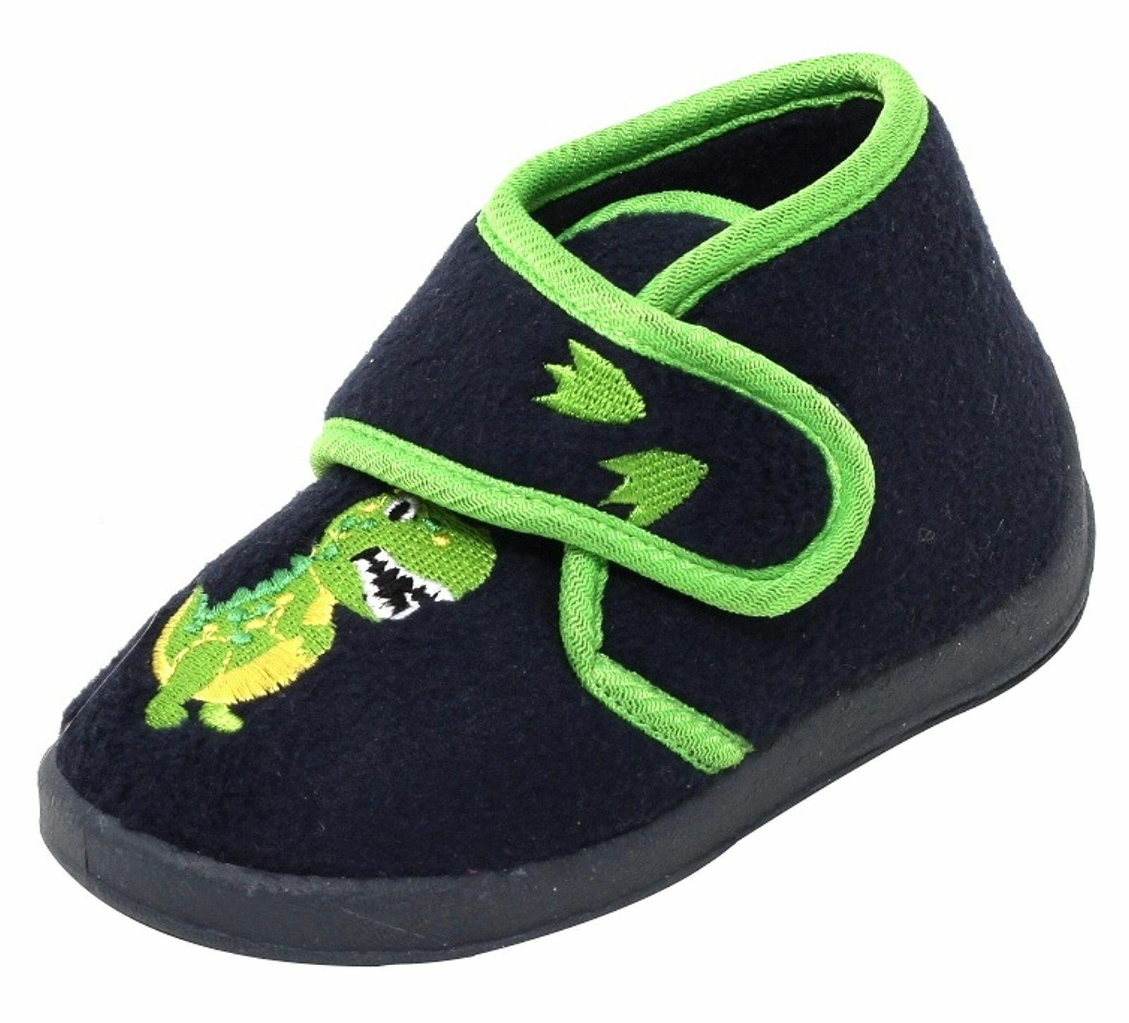Jungen Fleece Hausschuhe Dino Klettverschluss Gr. 22-25 Slipper Kinder Schuhe