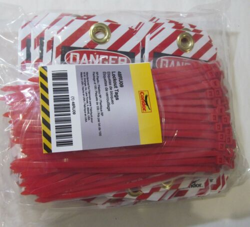 100-PACK NEW CONDOR 48RU09 PLASTIC DO NOT OPERATE LOCKOUT TAGS WITH ZIP TIES