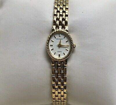 REGENCY Ladies White Oval Dial Polished Bright Gold Tone Link Bracelet (Bright White Dial)