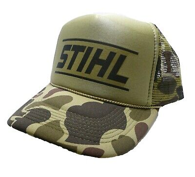 Vintage Stihl Chainsaws Hat trucker hat snap back Green Camouflage hunting cap