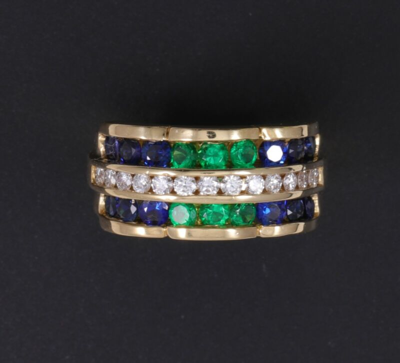 Charles Krypell 18K Diamond Emerald Blue Sapphire Ring