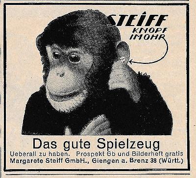 1925 Steiff Affe Knopf im Ohr ca. 7x6 cm original Printwerbung
