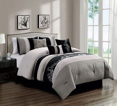 7-Piece Luxury Floral Leaves Scroll Embroidery Gray Black Comforter Set