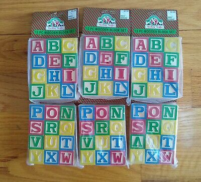 NEW Sealed Lot of 6 Wooden Blocks Alphabet Letters Numbers Animals Crafts