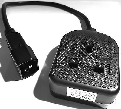 UPS cable IEC C14 mains power plug (male) to 13A socket (female)...