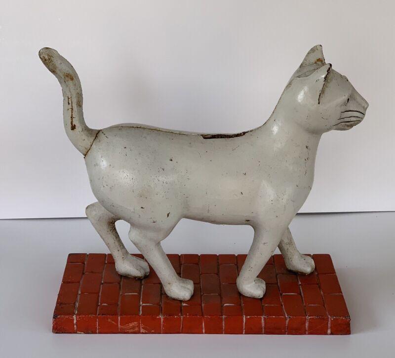 Rare Vintage Cast Iron Cat Door Stop Bank