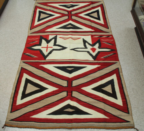 """Antique Navajo Early Crystal Trading Post Regional Style Rug 82"""" x 44"""" c.1910"""