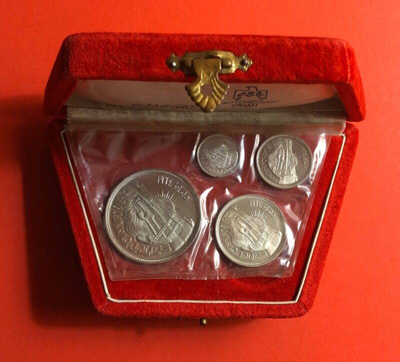 1964 -EGYPT- 4 UNC SEALED SILVER PROOF COINS ,NICE RED BOX..RARE..LOW MINTAGE