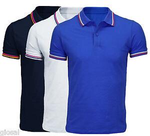 Polo-Uomo-Slim-Fit-Maglia-Maniche-Corte-T-Shirt-Semplice-Vari-Colori-M-L-XL-XXL