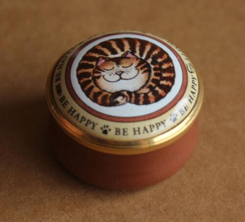 Halcyon Days Enamels Cat Sleeping Smile Be Happy Tabby Kitten Trinket Pill Box