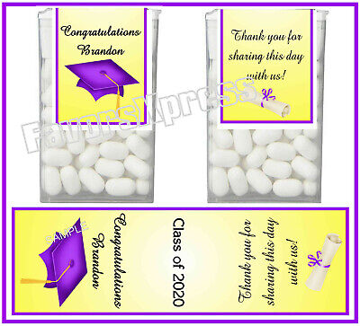 Purple And Gold Decorations (14 PURPLE AND GOLD GRADUATION PARTY FAVORS DECORATIONS TIC TAC LABELS)