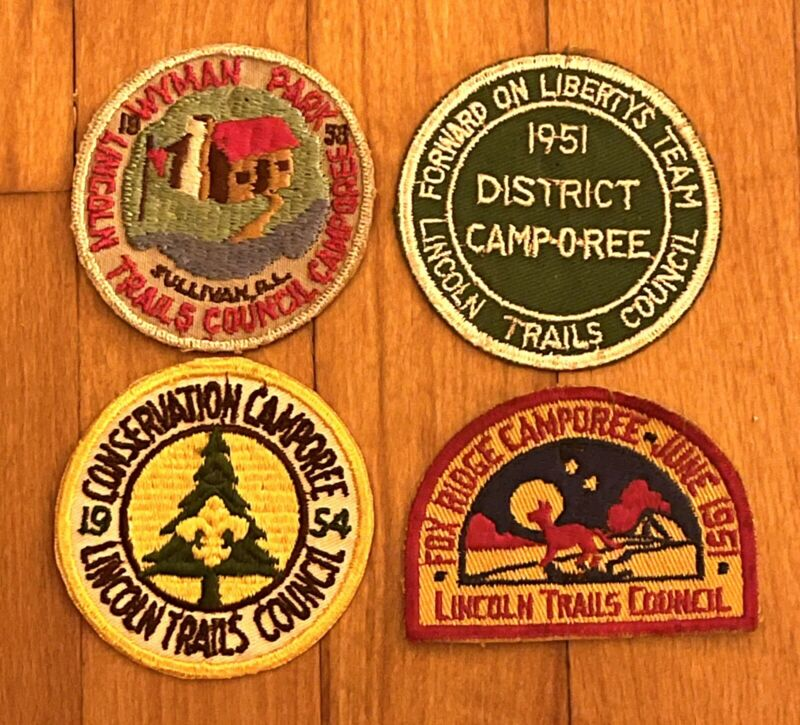 Lincoln Trails Council Camporee Patches (4) 1951 1953 1954 BSA