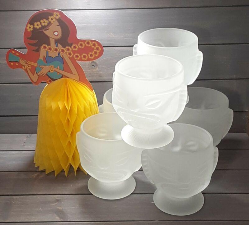 Hawaiian Luau Cups  Hawaiian Tiki Mug Happy~Sad Face Pedestal Mug ~Set of 6