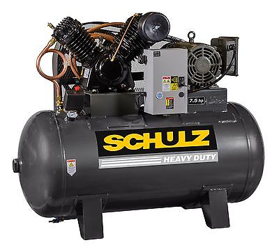 SCHULZ AIR COMPRESSOR - 7.5HP 1 PHASE HORIZONTAL 80 GAL TANK - 30CFM - 175 PSI