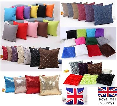 Plain Fluffy Classic Comfy Cushion Cover Cotton Linen Throw Pillow Case Bed Sofa