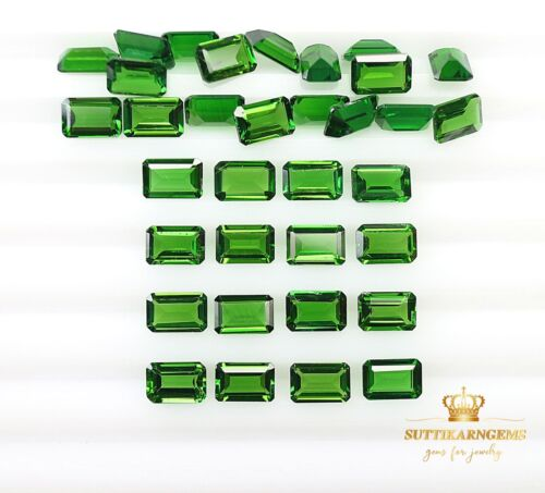 6x4 MM Natural Green Chrome Diopside Octagon Cut Loose Gemstones Lot